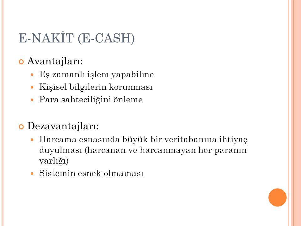 E-NAKİT (E-CASH) Avantajları: Dezavantajları:
