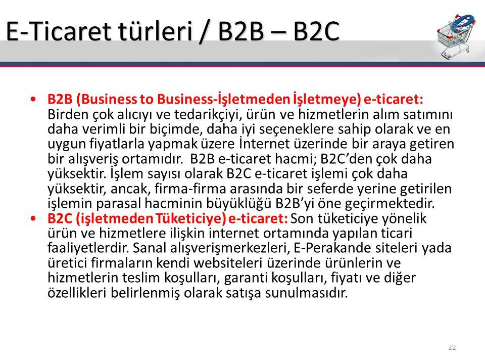 E-Ticaret türleri / B2B – B2C
