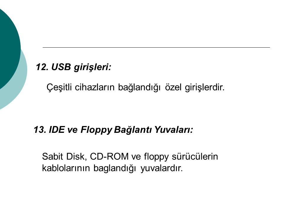 12. USB girişleri: Çeşitli cihazların bağlandığı özel girişlerdir. 13. IDE ve Floppy Bağlantı Yuvaları: