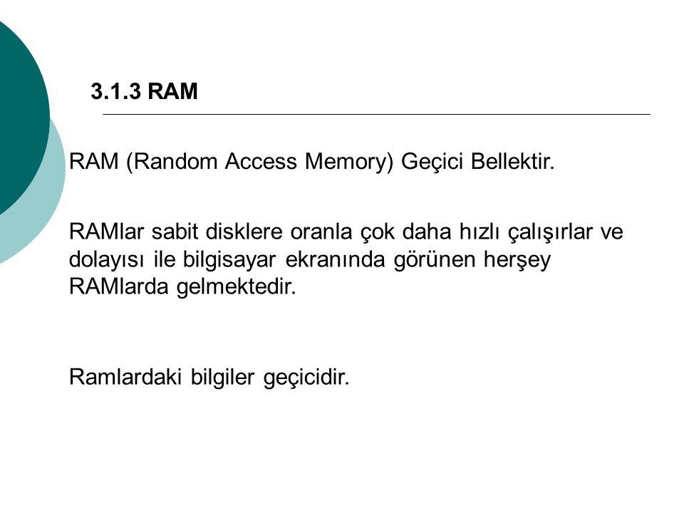 3.1.3 RAM RAM (Random Access Memory) Geçici Bellektir.