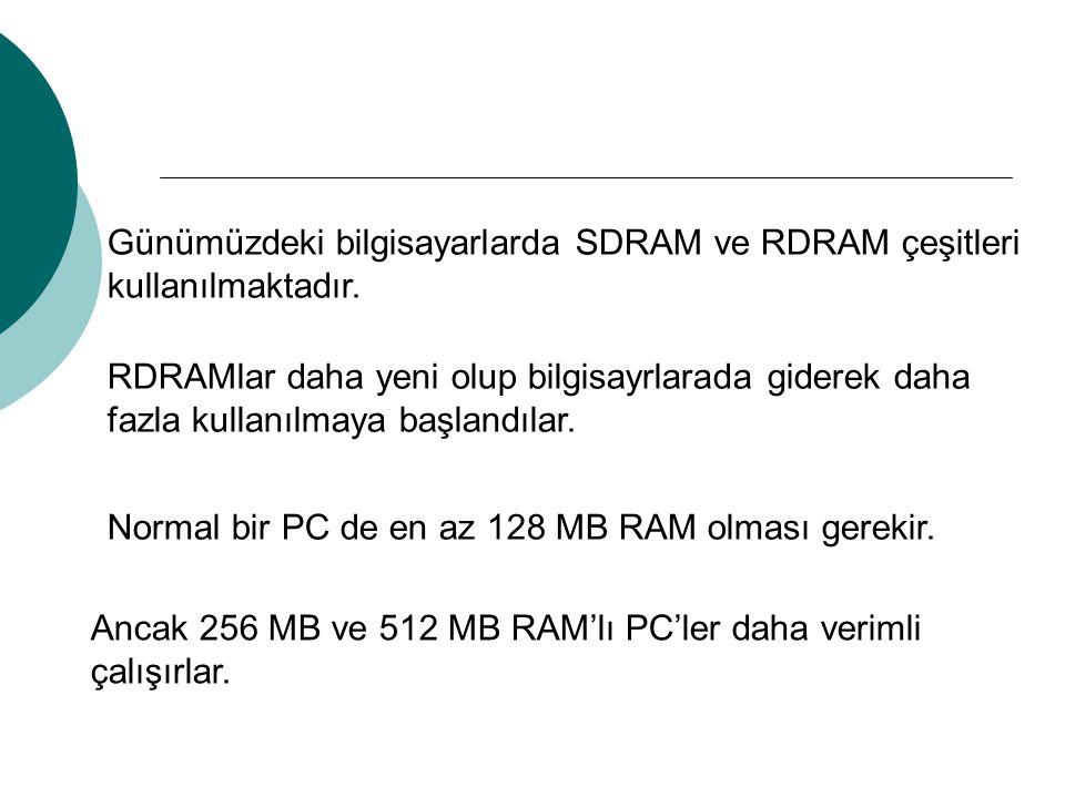 Günümüzdeki bilgisayarlarda SDRAM ve RDRAM çeşitleri kullanılmaktadır.
