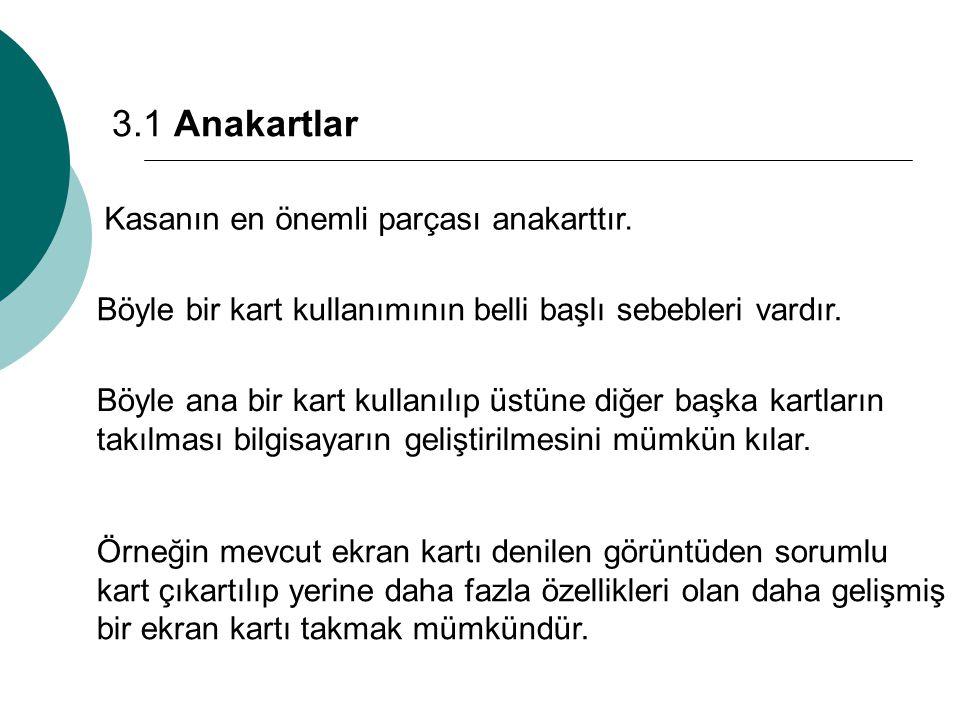 3.1 Anakartlar Kasanın en önemli parçası anakarttır.