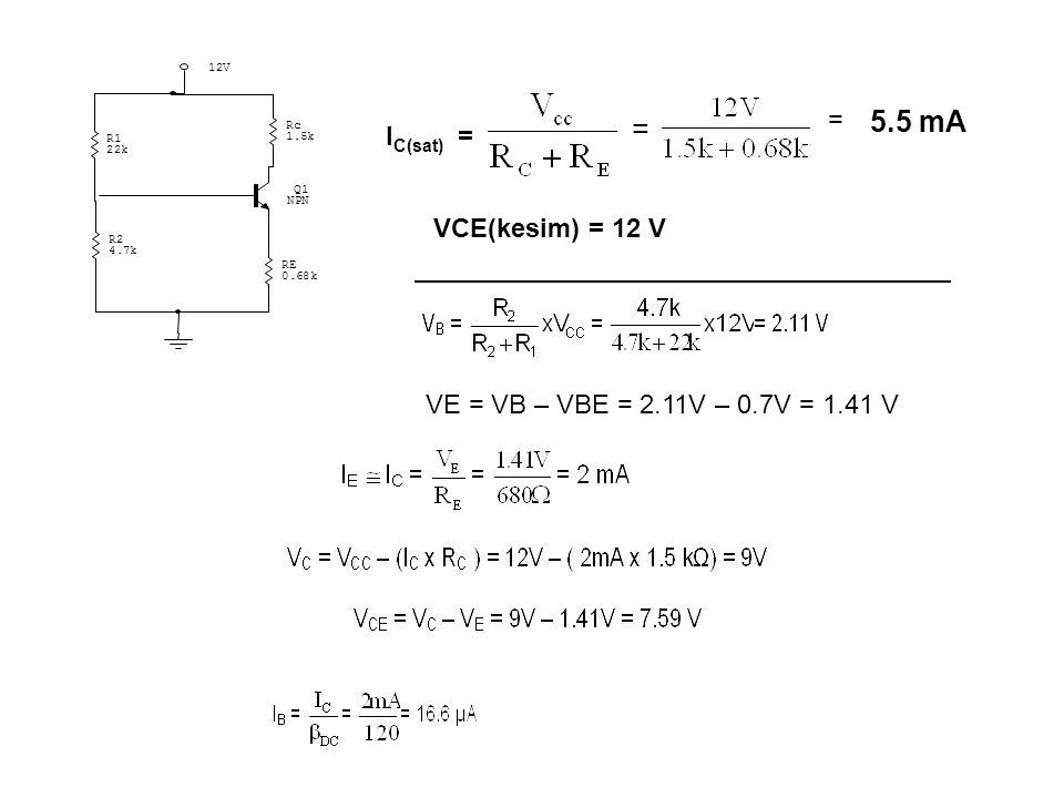 5.5 mA = IC(sat) = VCE(kesim) = 12 V
