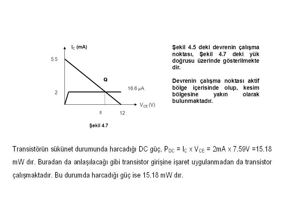 Q IC (mA) VCE (V) 12. 5.5. 2. 8. 16.6 A. Şekil 4.7.