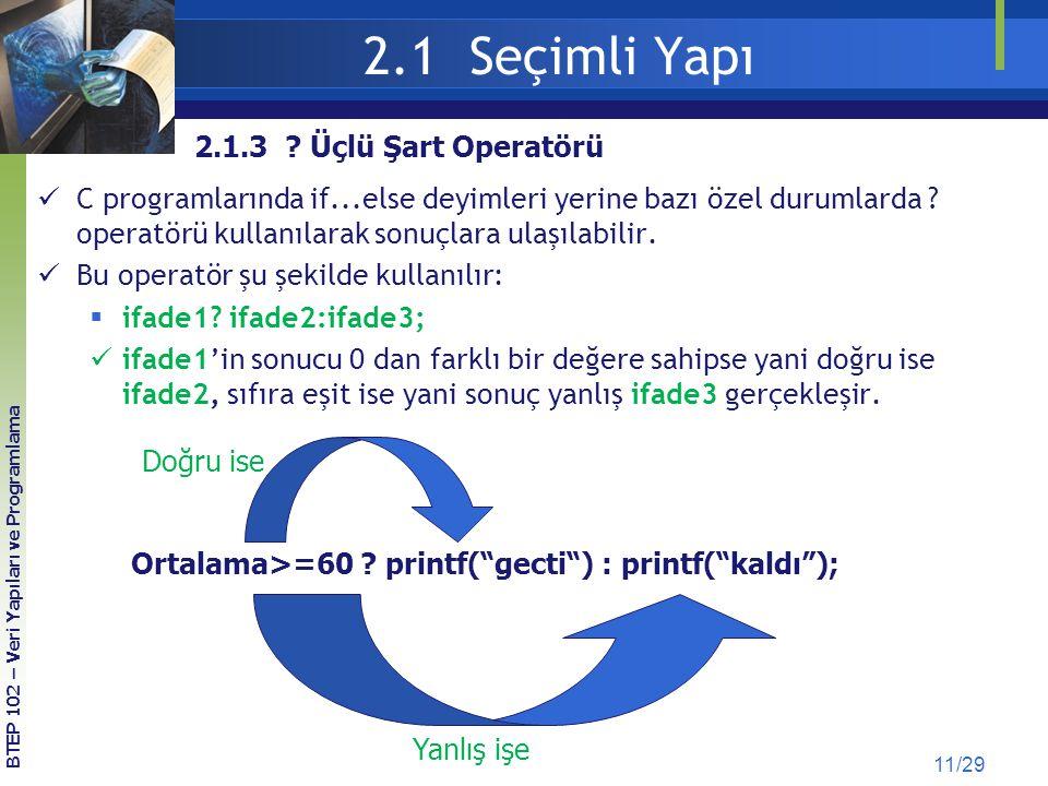 2.1 Seçimli Yapı 2.1.3 Üçlü Şart Operatörü