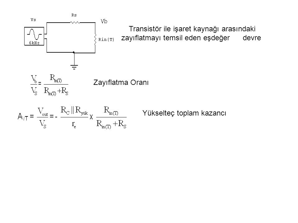 Transistör ile işaret kaynağı arasındaki