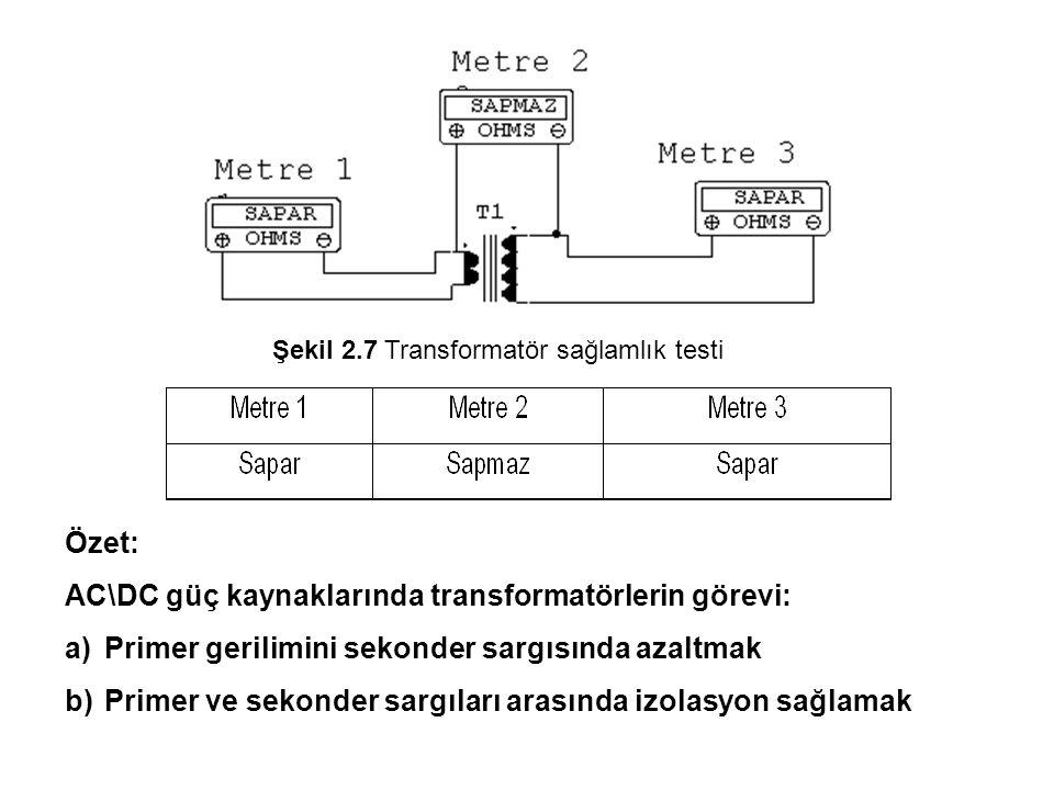 AC\DC güç kaynaklarında transformatörlerin görevi: