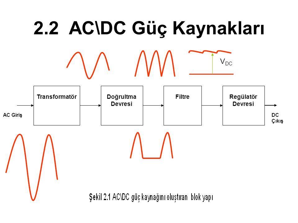 2.2 AC\DC Güç Kaynakları VDC Transformatör Doğrultma Devresi Filtre