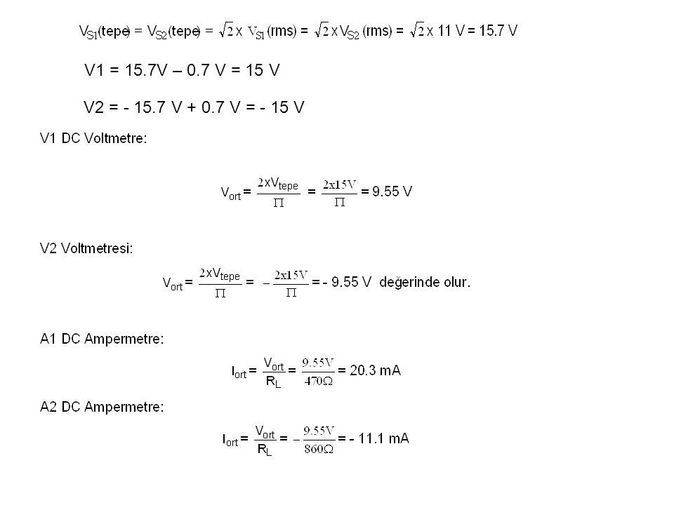 V1 = 15.7V – 0.7 V = 15 V V2 = - 15.7 V + 0.7 V = - 15 V