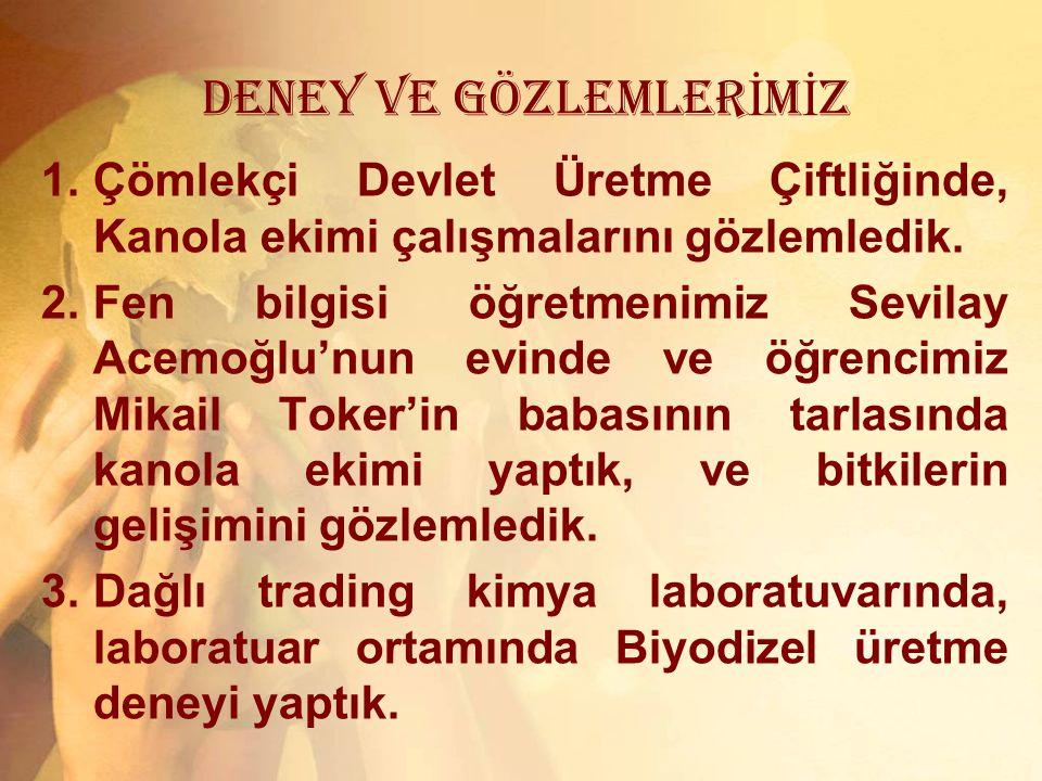 DENEY VE GÖZLEMLERİMİZ
