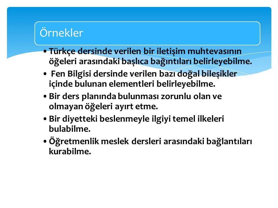 Örnekler Türkçe dersinde verilen bir iletişim muhtevasının öğeleri arasındaki başlıca bağıntıları belirleyebilme.