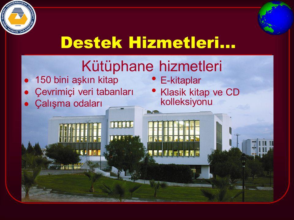 Destek Hizmetleri... Kütüphane hizmetleri 150 bini aşkın kitap