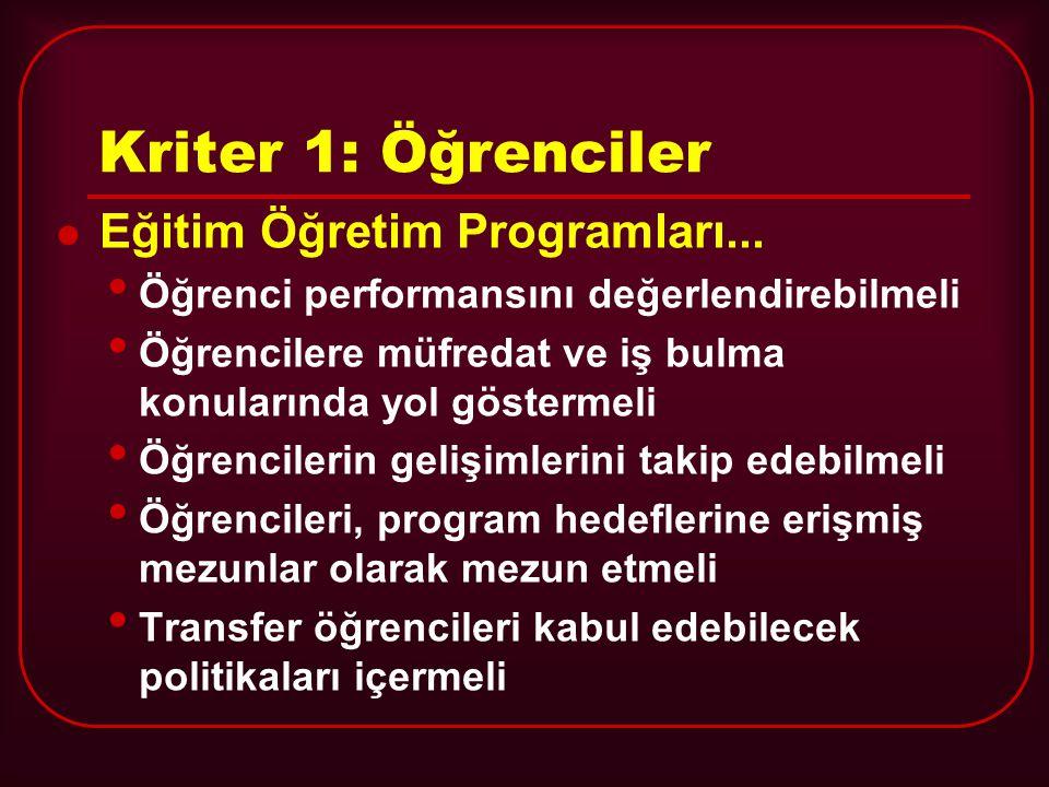 Kriter 1: Öğrenciler Eğitim Öğretim Programları...