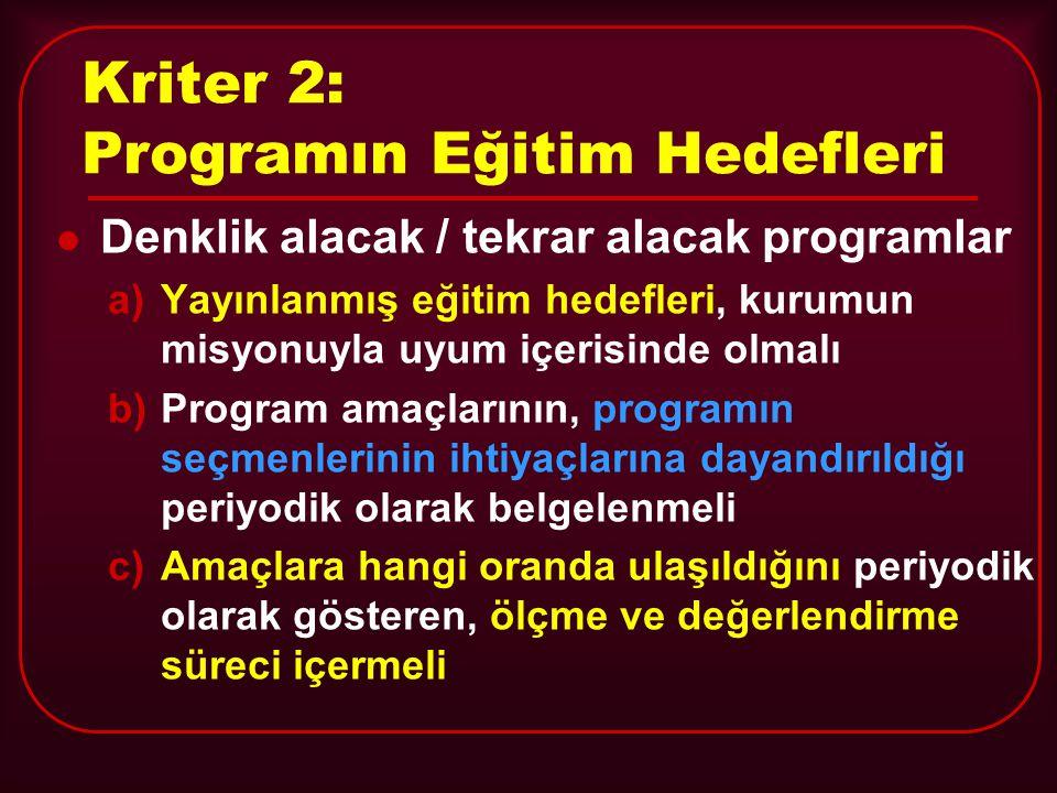 Kriter 2: Programın Eğitim Hedefleri