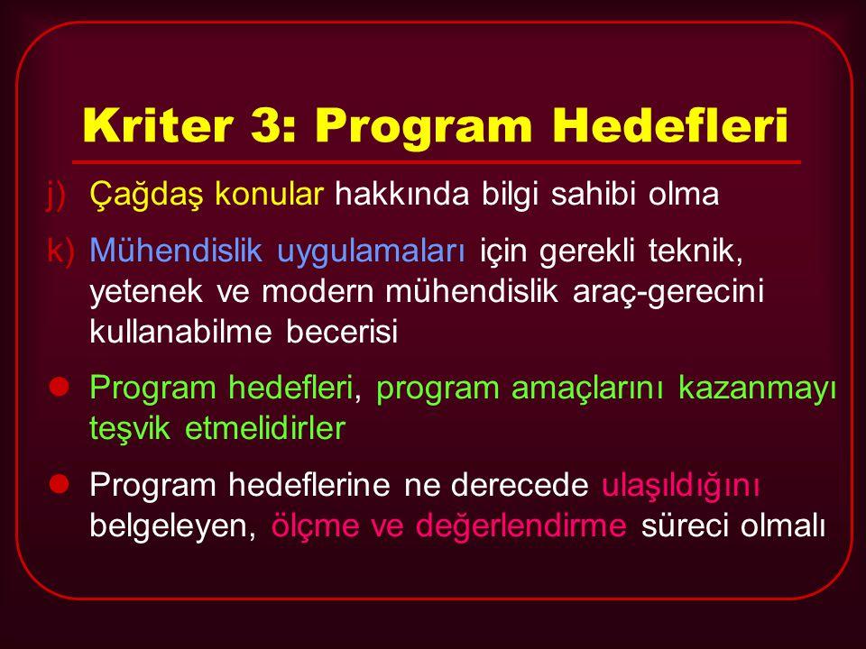 Kriter 3: Program Hedefleri