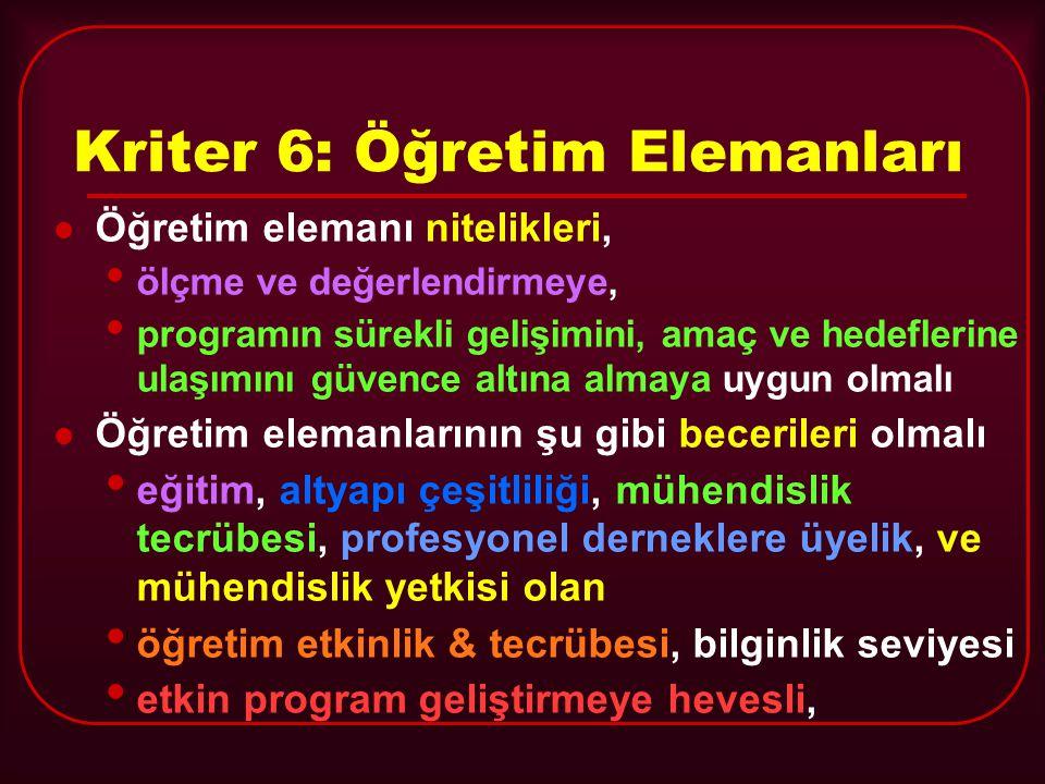 Kriter 6: Öğretim Elemanları