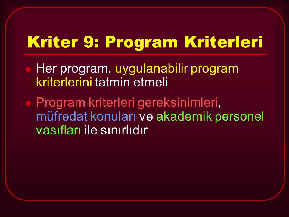 Kriter 9: Program Kriterleri