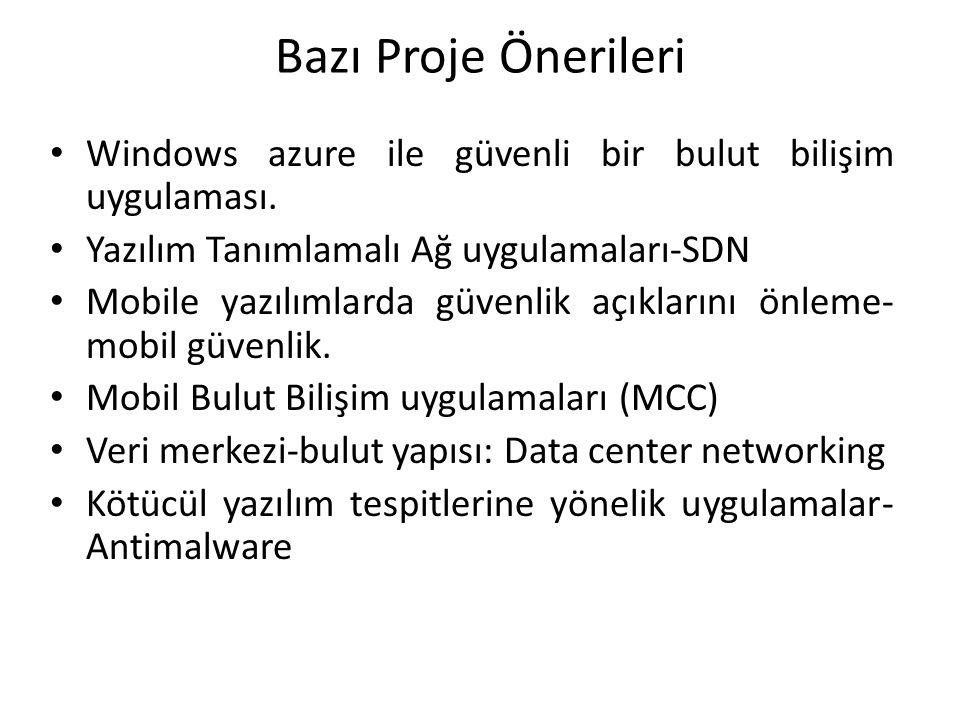 Bazı Proje Önerileri Windows azure ile güvenli bir bulut bilişim uygulaması. Yazılım Tanımlamalı Ağ uygulamaları-SDN.