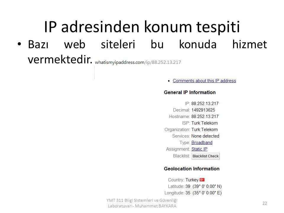 IP adresinden konum tespiti