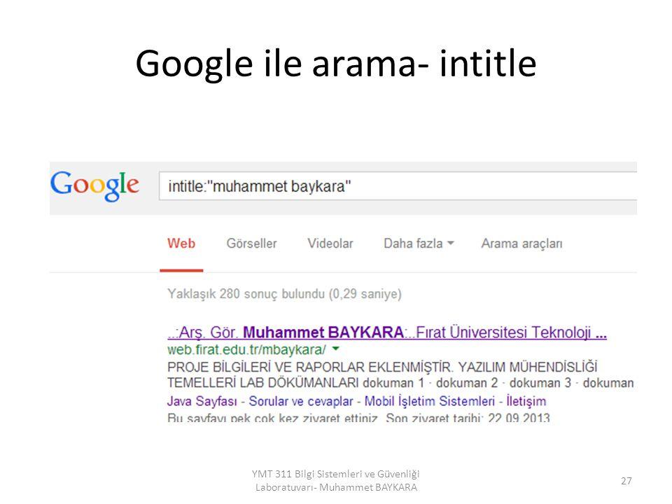 Google ile arama- intitle