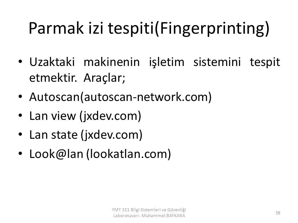 Parmak izi tespiti(Fingerprinting)