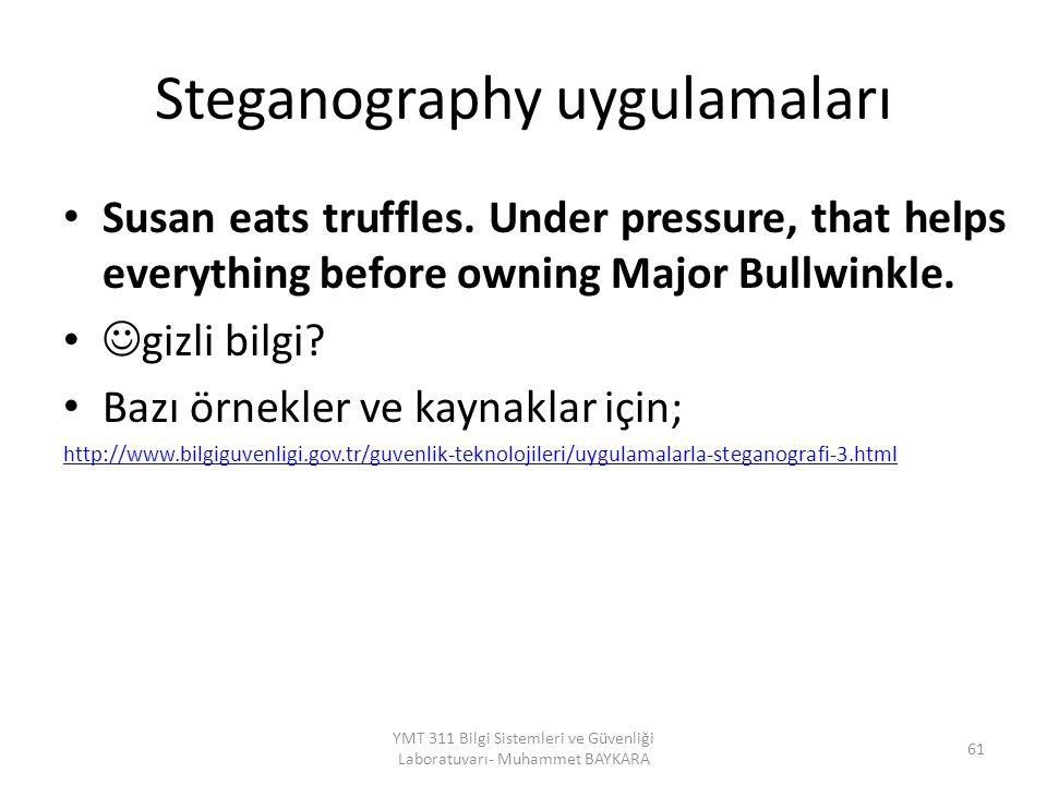 Steganography uygulamaları