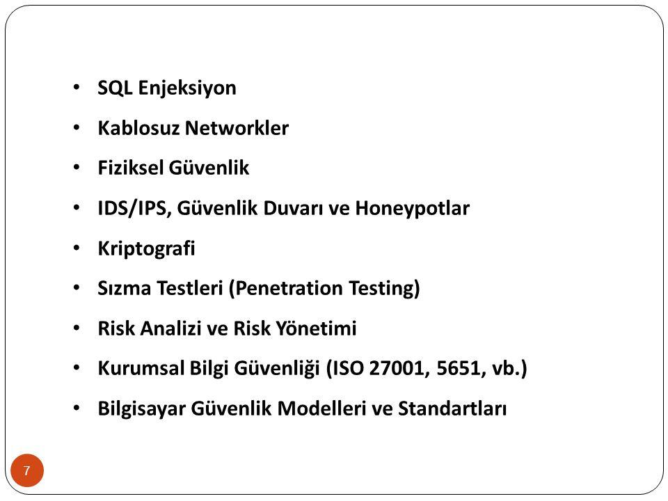 SQL Enjeksiyon Kablosuz Networkler. Fiziksel Güvenlik. IDS/IPS, Güvenlik Duvarı ve Honeypotlar. Kriptografi.