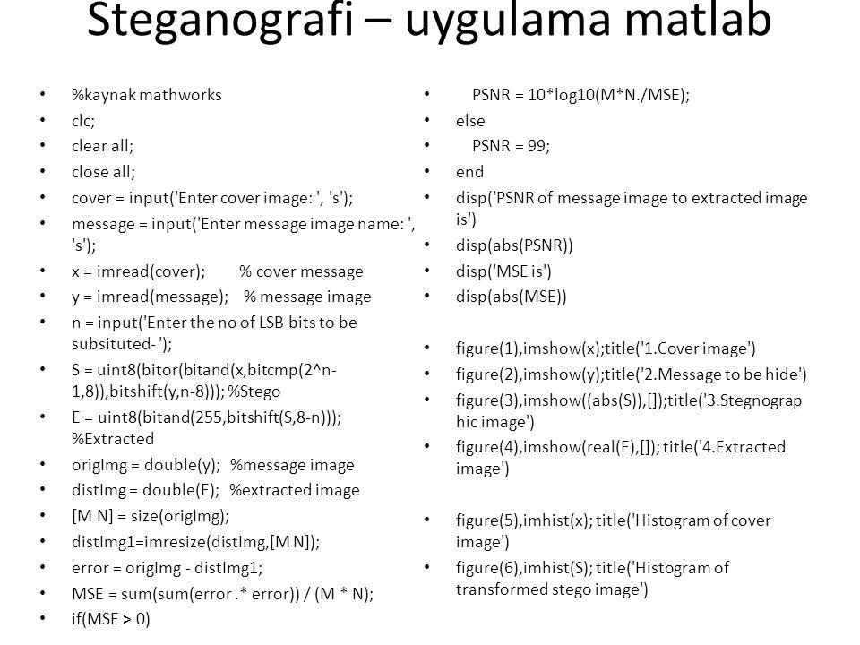 Steganografi – uygulama matlab