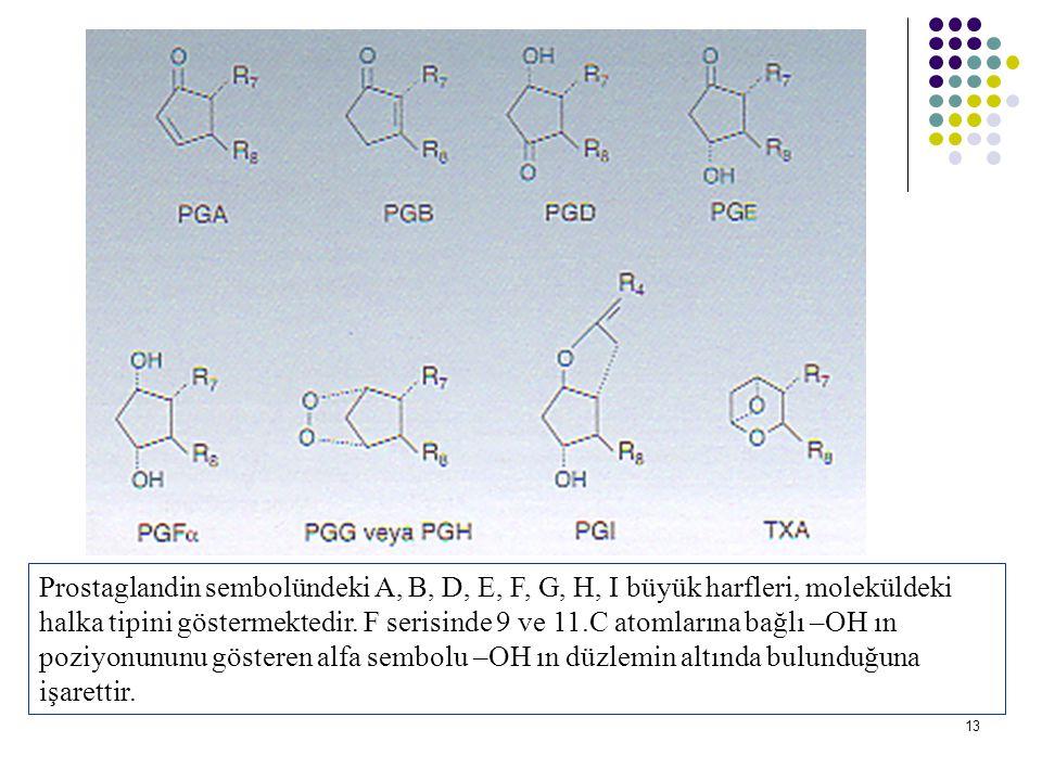Prostaglandin sembolündeki A, B, D, E, F, G, H, I büyük harfleri, moleküldeki halka tipini göstermektedir.