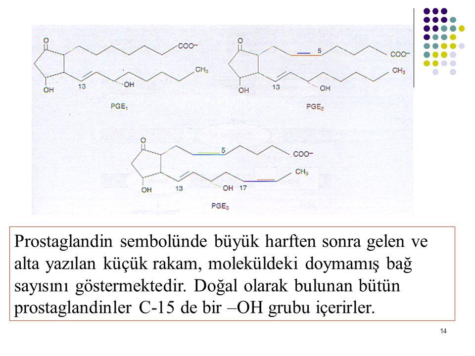 Prostaglandin sembolünde büyük harften sonra gelen ve alta yazılan küçük rakam, moleküldeki doymamış bağ sayısını göstermektedir.