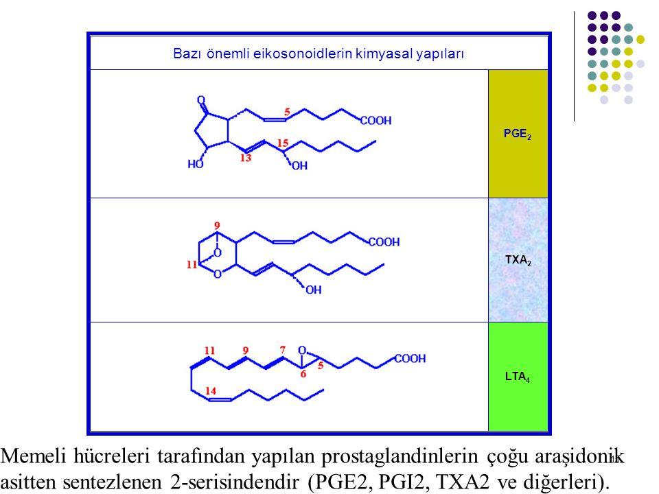 Bazı önemli eikosonoidlerin kimyasal yapıları