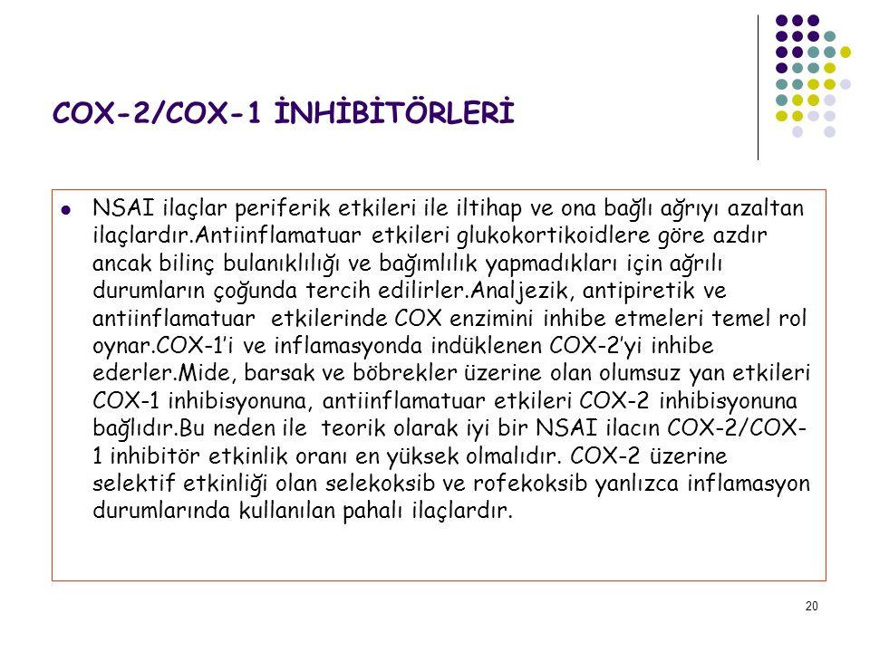 COX-2/COX-1 İNHİBİTÖRLERİ