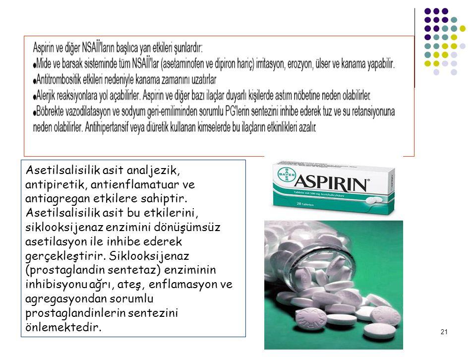 Asetilsalisilik asit analjezik, antipiretik, antienflamatuar ve antiagregan etkilere sahiptir.