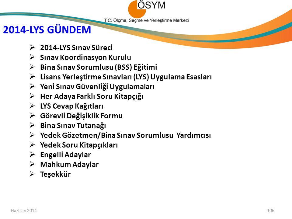 2014-LYS GÜNDEM 2014-LYS Sınav Süreci Sınav Koordinasyon Kurulu