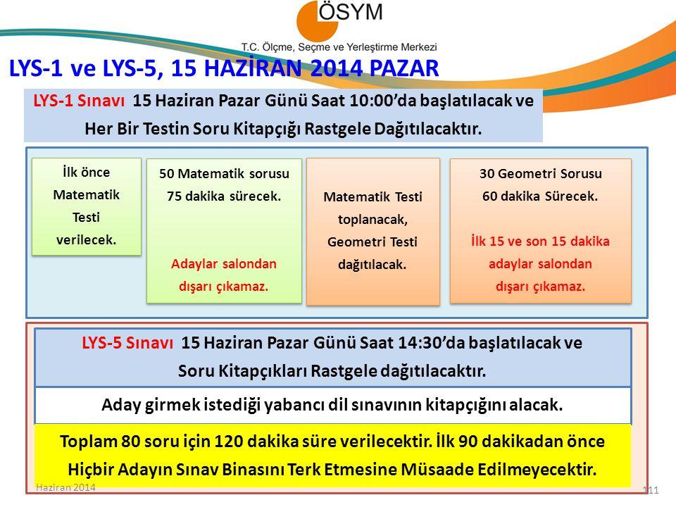 LYS-1 ve LYS-5, 15 HAZİRAN 2014 PAZAR