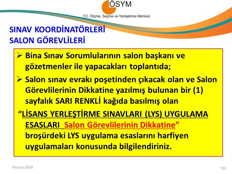 SINAV KOORDİNATÖRLERİ SALON GÖREVLİLERİ