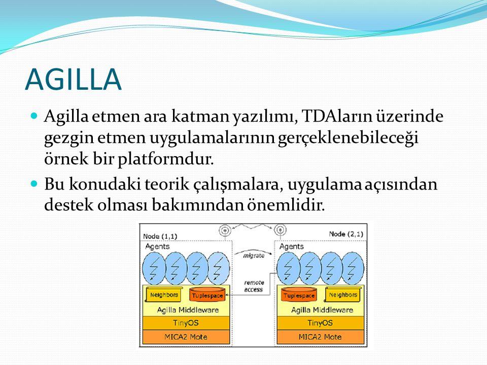 AGILLA Agilla etmen ara katman yazılımı, TDAların üzerinde gezgin etmen uygulamalarının gerçeklenebileceği örnek bir platformdur.