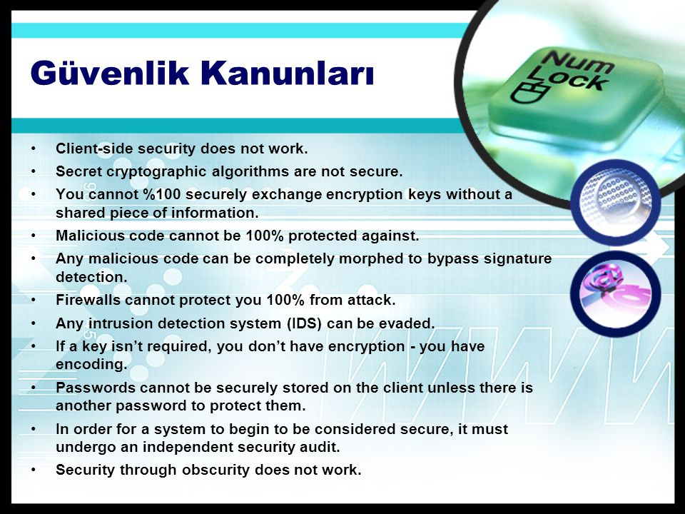 Güvenlik Kanunları Client-side security does not work.