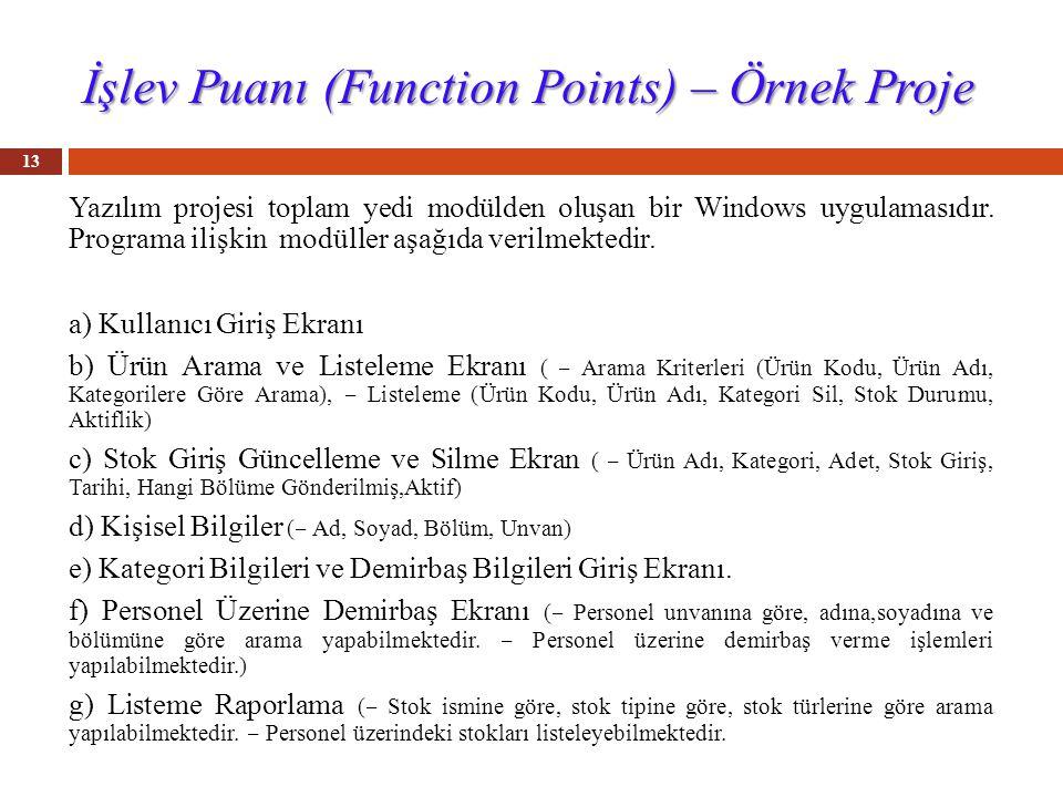 İşlev Puanı (Function Points) – Örnek Proje