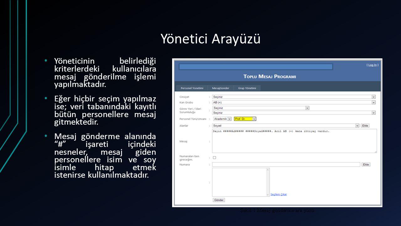 Yönetici Arayüzü Yöneticinin belirlediği kriterlerdeki kullanıcılara mesaj gönderilme işlemi yapılmaktadır.