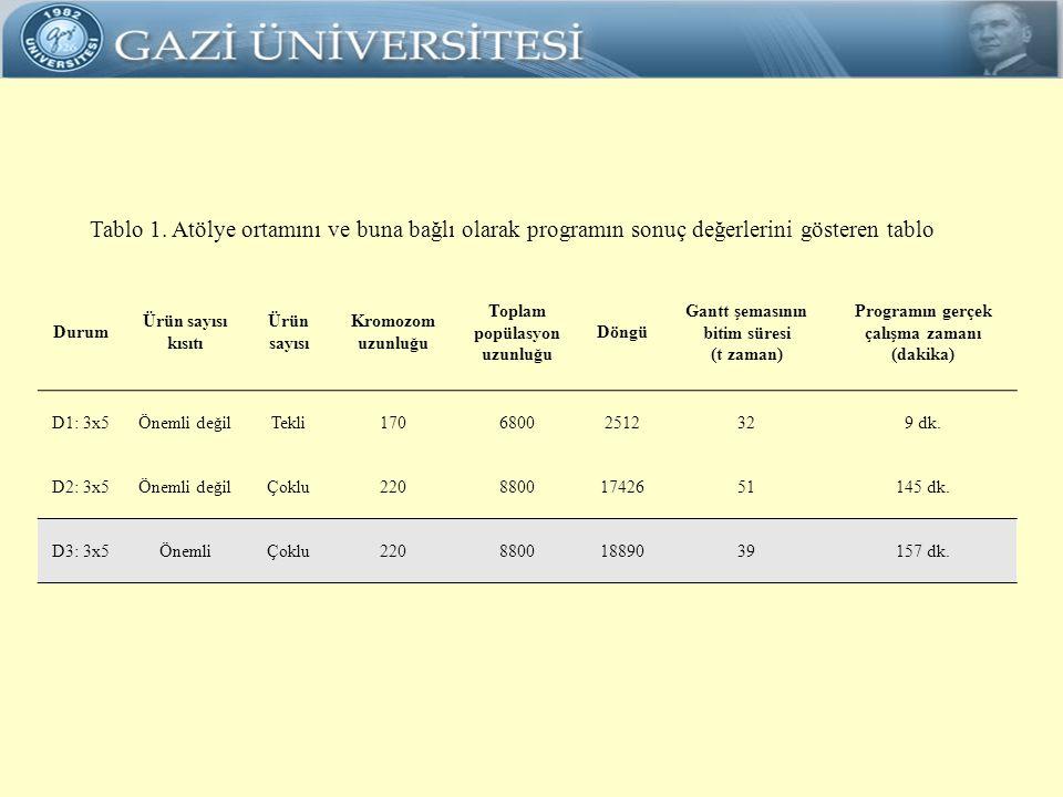 Tablo 1. Atölye ortamını ve buna bağlı olarak programın sonuç değerlerini gösteren tablo