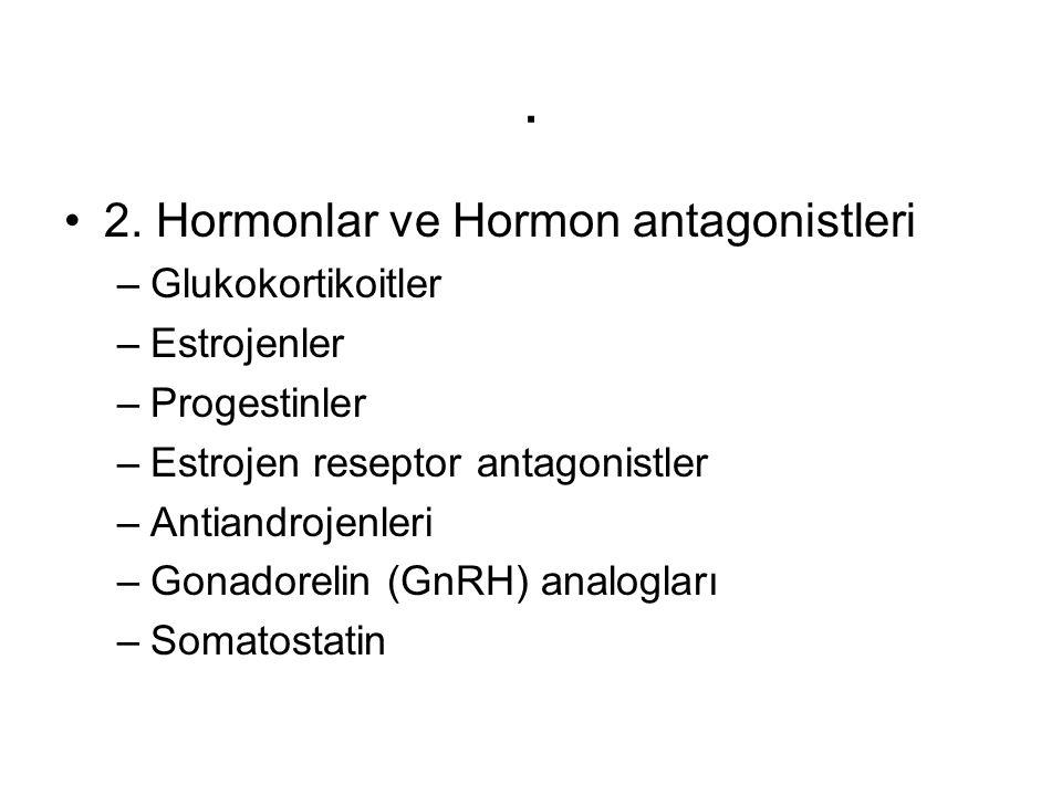 . 2. Hormonlar ve Hormon antagonistleri Glukokortikoitler Estrojenler