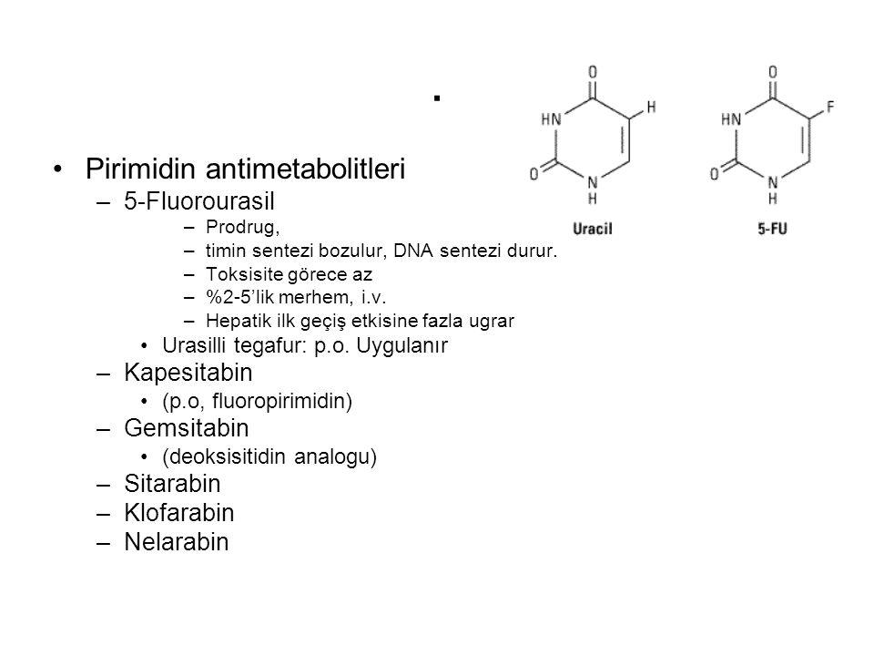 . Pirimidin antimetabolitleri 5-Fluorourasil Kapesitabin Gemsitabin