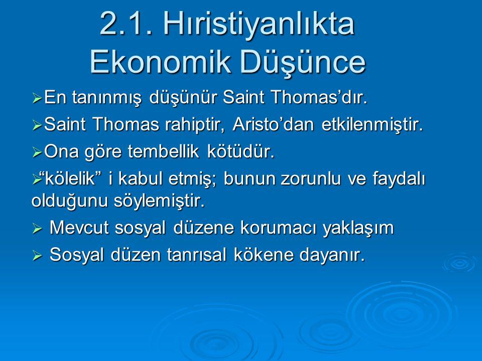 2.1. Hıristiyanlıkta Ekonomik Düşünce