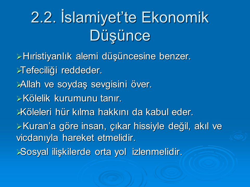 2.2. İslamiyet'te Ekonomik Düşünce