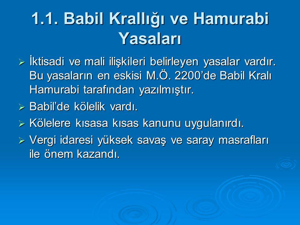 1.1. Babil Krallığı ve Hamurabi Yasaları