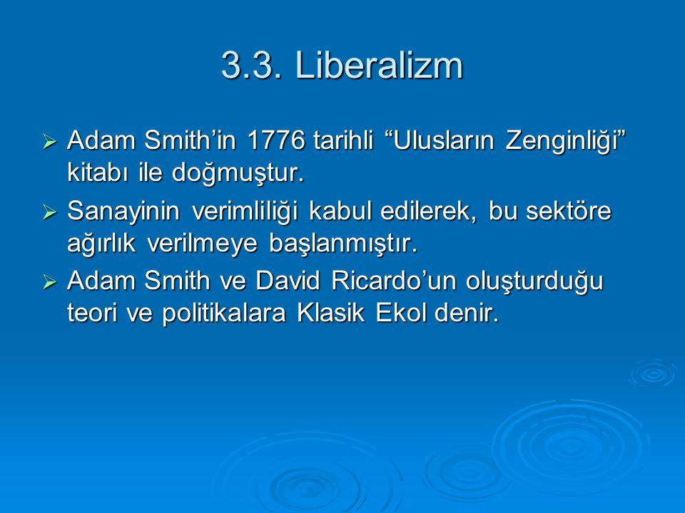 3.3. Liberalizm Adam Smith'in 1776 tarihli Ulusların Zenginliği kitabı ile doğmuştur.