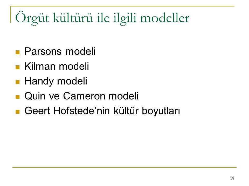 Örgüt kültürü ile ilgili modeller