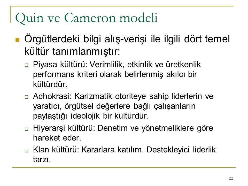 Quin ve Cameron modeli Örgütlerdeki bilgi alış-verişi ile ilgili dört temel kültür tanımlanmıştır: