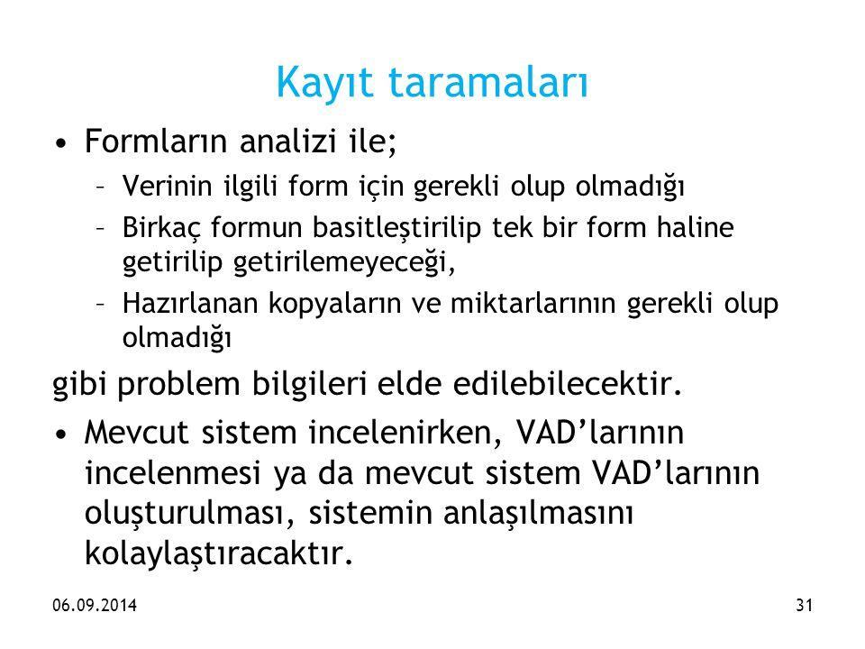 Kayıt taramaları Formların analizi ile;